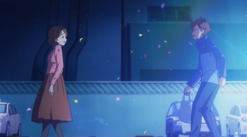 A teen boy in a sweater stands outside, facing a robot woman whose head is turned all the way around so that her face is facing him but her body is facing away. Parked cars are behind them and petals fall from the sky.