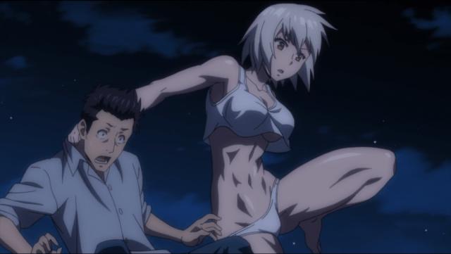 Hitomi jumping backward, dragging Yuya by the collar.