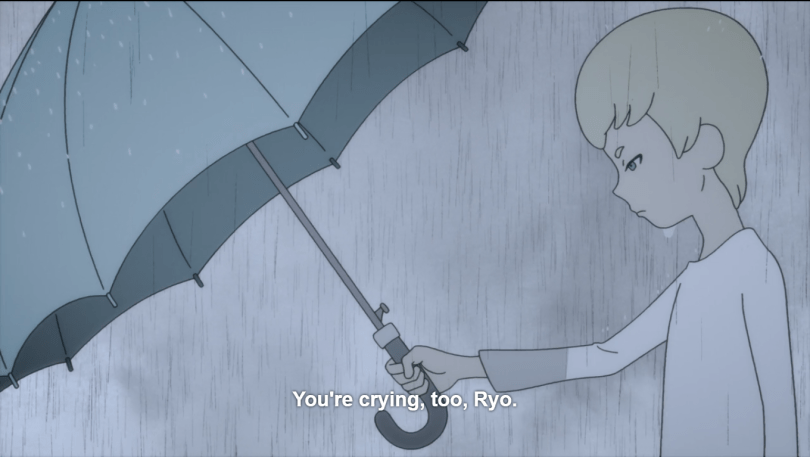 Young Ryo standing in the rain, holding an umbrella over Akira's (offscreen) head. Caption: You're crying too, Ryo.