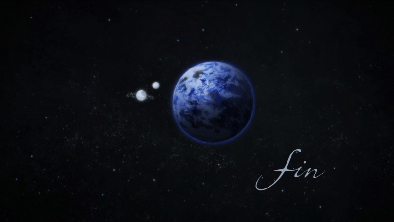 "A shot of Earth with two moons orbiting it. ""Fin"" is written in the lower righthand corner"