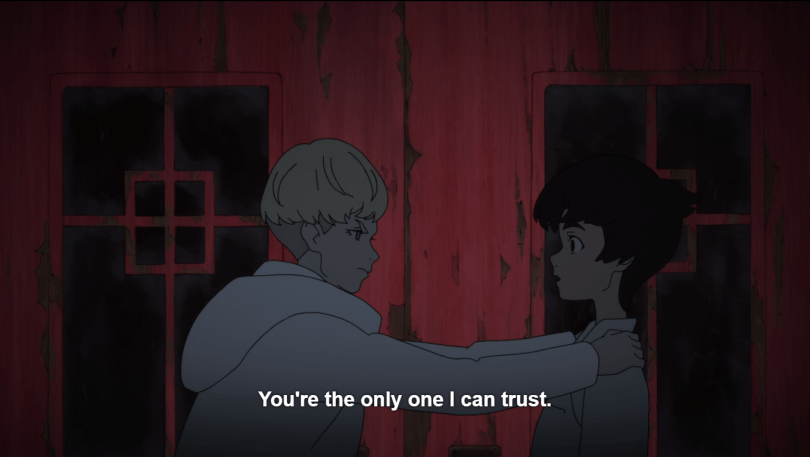 Ryo gripping a pre-Devilman Akira by the shoulders in front of a red club door. Caption: You're the only one I can trust