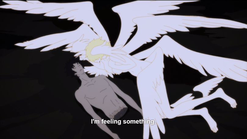 Satan leaning over Akira's severed torso, clutching his chest. caption: I'm feeling something