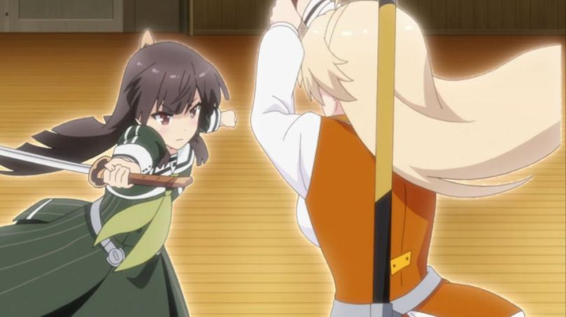 Hiyori bringing her sword in toward an opponent who is raising her blade above her head (seen from behind)