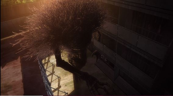 An enormous shadowy creature with branches sticking out of its back reaching its arm across the lot behind a building