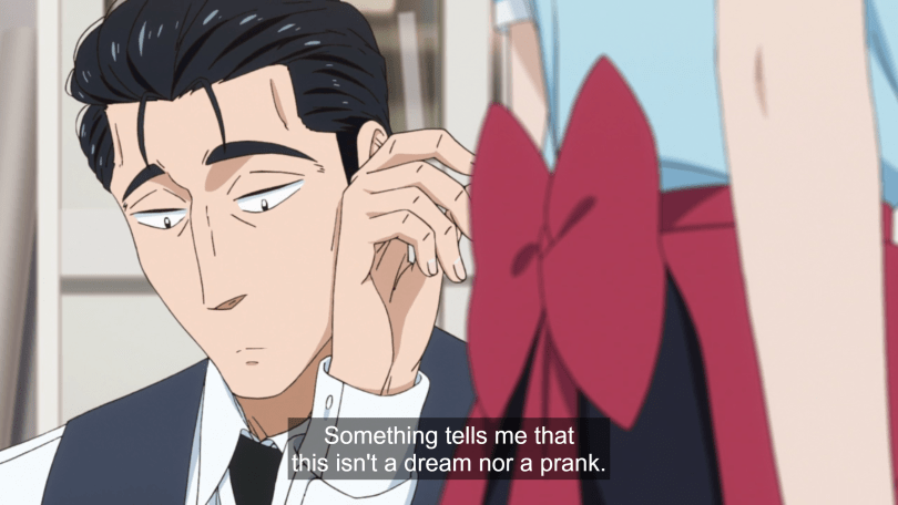 "In the foreground, the bow on a waitress uniform. In the background, Kondo looking down a bit morosely. He thinks ""Something tells me that this isn't a dream nor a prank."""