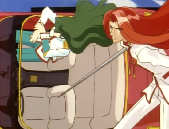 A redheaded man (Touga) runs with a sword while a car with a green-haired man (Saionji) sitting in the passenger's seat is behind him, perpendicular with the ground.