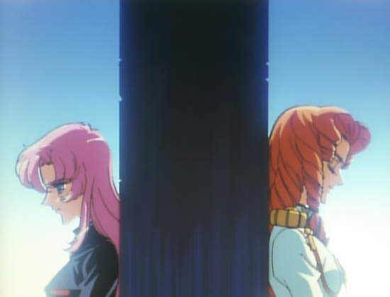 A pink-haired girl (Utena) and a curly redhair (Juri) stand on opposite sides of a pillar, both looking down pensively