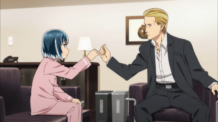 A man with slicked-back blonde hair wearing a suit sits in a chair across from a girl in pink pajamas sitting on a couch. The two have their pinkies hooked, making a pinke promise.