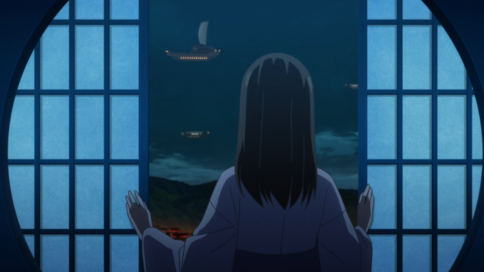 A young woman shown from behind, opening paper-screen doors and looking out into a night sky dappled with floating ships.