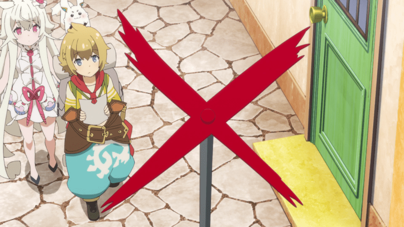 "A girl and a boy in fantasy clothing look up at a red ""X"" pinned to the top of a pole."
