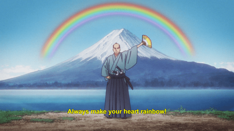 "A man in traditional Japanese warrior clothing holds aloft a fan in one hand, with Mount Fuji and a rainbow behind him. He says ""Always make your heart rainbow!"""