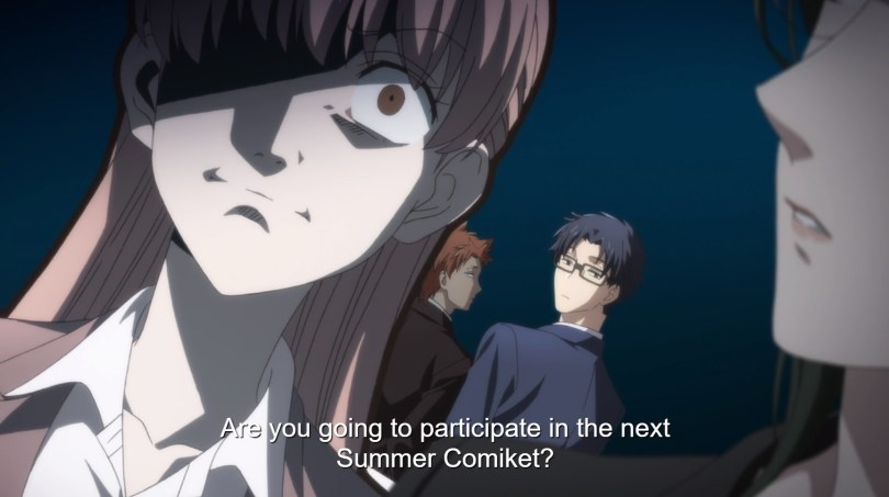 "A woman looks horrified as, behind her, a man in a suit and glasses looks back at her and asks ""Are you going to participate in the next Summer Comiket?"""