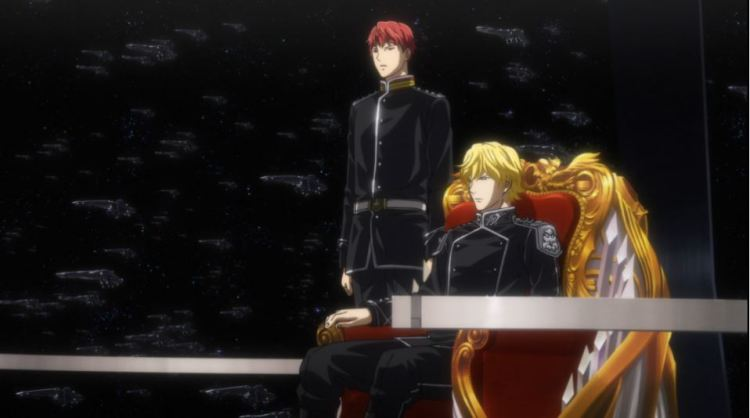 Reinhard sitting in a command chair with Siegfried standing beside him