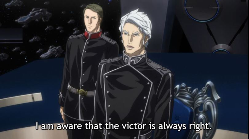 One of Reinhard's commanders. Caption: I am aware that the victor is always right