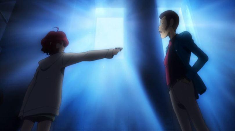 Backlit Ami pointing a gun at Lupin
