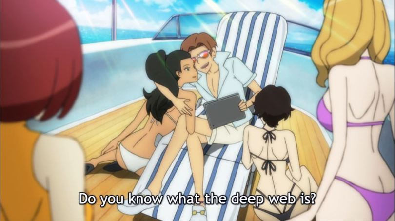 a man on a yacht surrounded by woman in bikinis. caption: do you know what the dark web is?