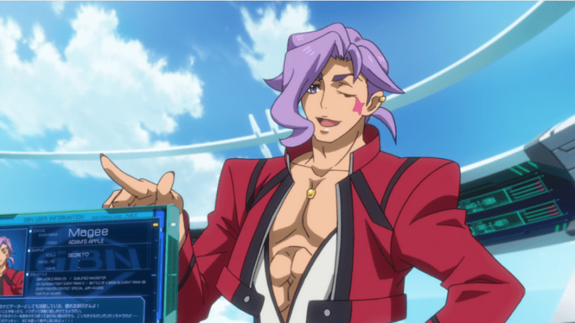 A man with stylish hair, a star on his cheek, and a half-open shirt winks and points somewhat flirtatiously at someone off-screen.