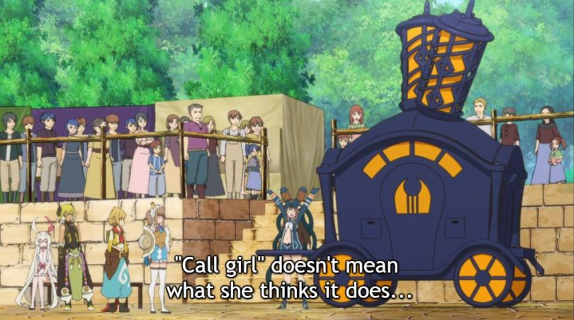 """the team standing in front of a large carriage. caption: """"call girl"""" doesn't mean what she thinks it does..."""