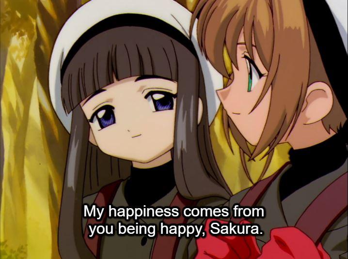 Tomoyo looking at Sakura. caption: My happiness comes from you being happy, Sakura.