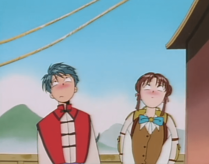 Miaka and Tamahome lean away from each other, both looking up and blushing shyly.