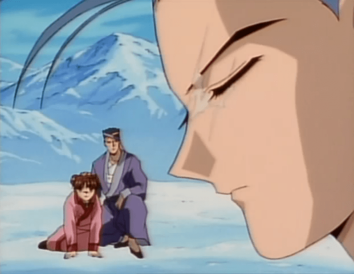 Chichiri, maskless, is in profile in the forground. In the background Miaka sits on the snowy ground with a tall short-haired man (Mitsukake) kneeling next to her, one hand comfortingly on her head.