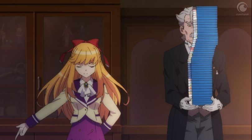 Arisugawa from Anime-Gataris and her butler, holding an enormous stack of blurays