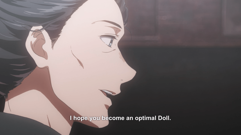 "Violet's Doll teacher smiles and tells her ""I hope you become and optimal Doll."""