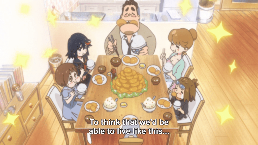 Mako and her family eating at a clean table. caption: to think we'd be able to live like this...