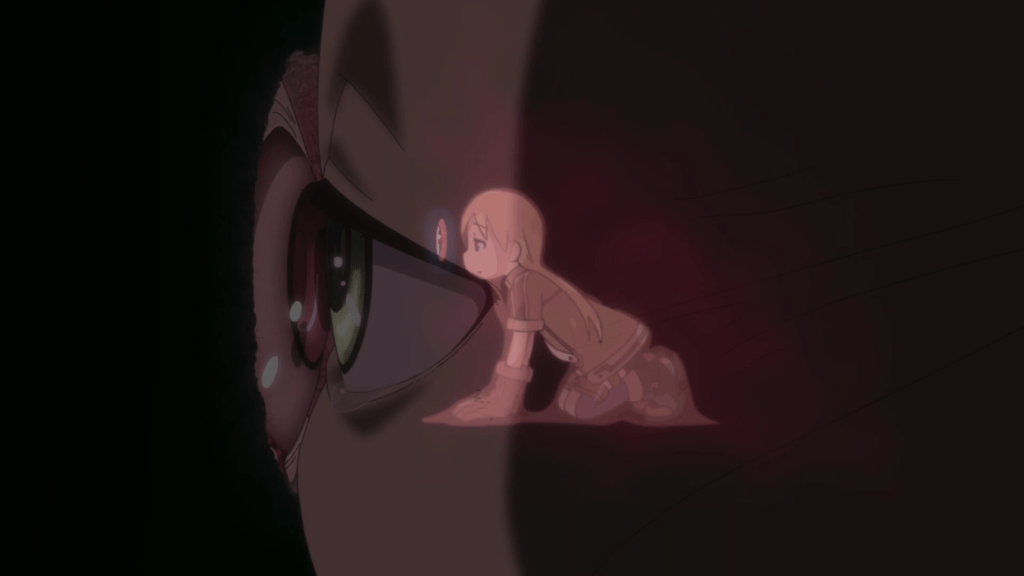 dreaming Riko pressing her eye to Mitty's