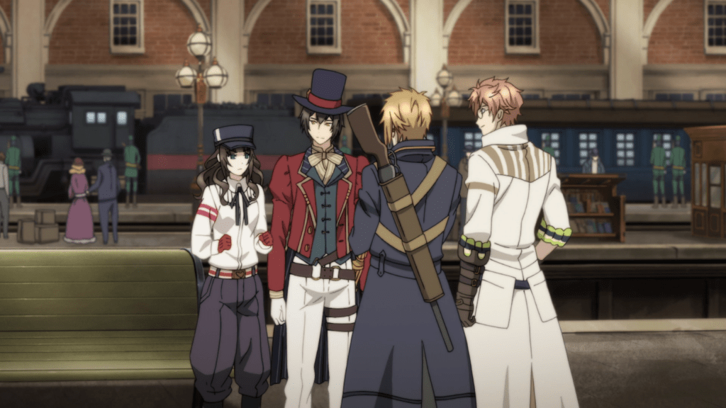 Four young people, three men and a young woman, all wear steampunk Victorian clothing, stand together in front of a train station. The woman is wearing jodhpurs and has her fists clenched in determination.