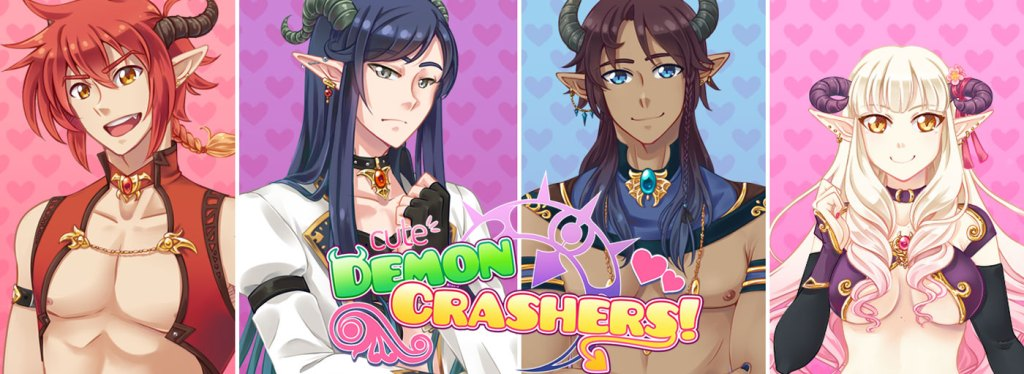 """A title card for """"Cute Demon Crashers"""" featuring four panels, each holding a head-shot of the three incubi and the succubi."""