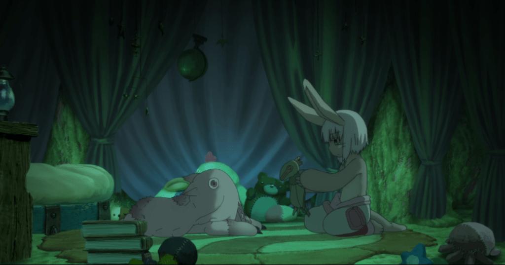 Mitty and Nanachi sitting in Mitty's darkened room