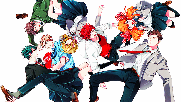 A group shot of the Monthly Girls' Nozaki-kun cast: Three boys and three girls, all in school uniforms.