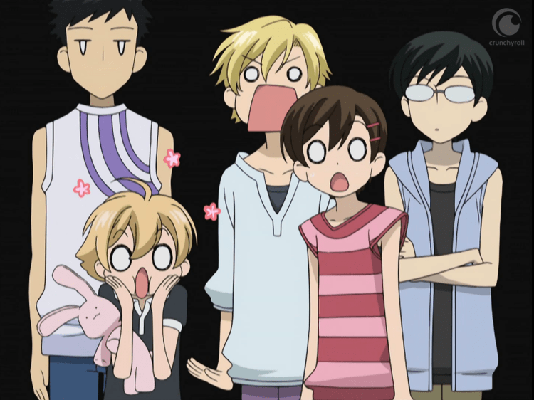 Screenshot from Ouran High. Haruhi, Tamaki, and Hunny look shocked, while Mori and Kyoya stand slightly behind them with blank expressions.