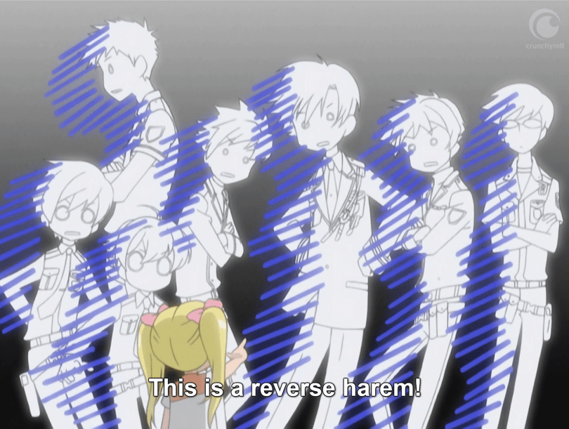 """A group of teens (the Host Club) stand frozen, drained of color and looking shocked. A little blonde girl points at them in the foreground. The subtitles read: """"This is a reverse harem!"""""""