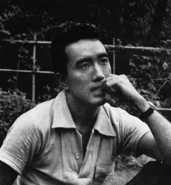 A black and white photo of Mishima