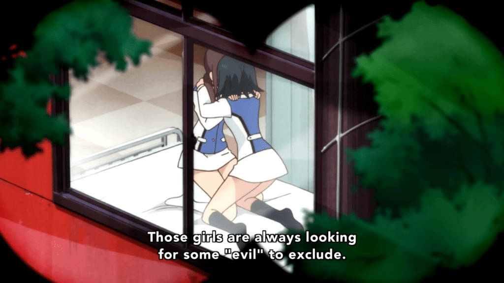 "Seen through a window, a pair of girls in school uniform are kneeling on a bed and kissing, their faces hidden. Subtitle reads: ""Those girls are always looking for someone to exclude."""