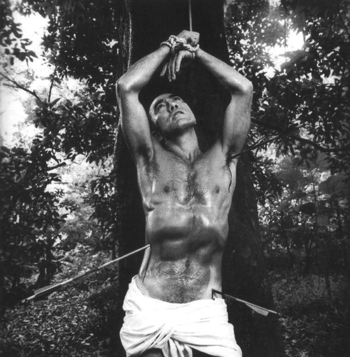Mishima recreating the painting of St Sebastian