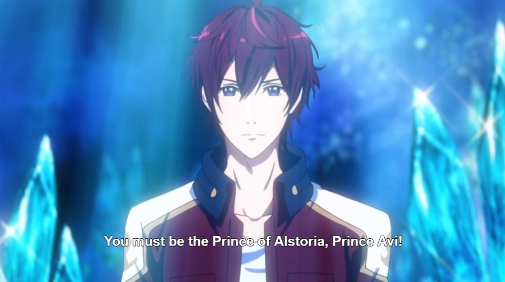 "A young man stands in the middle of the frame, looking serious. Subtitles read ""You must be the Prince of Alstoria, Prince Avi!"""
