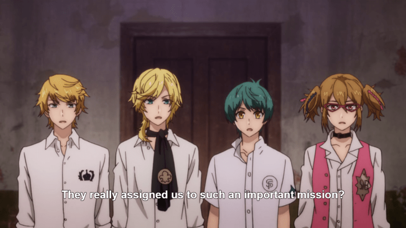 """Four young men with varying hair colors and styles stand in a line. Subtitles read """"They really assigned us such an important mission?"""""""