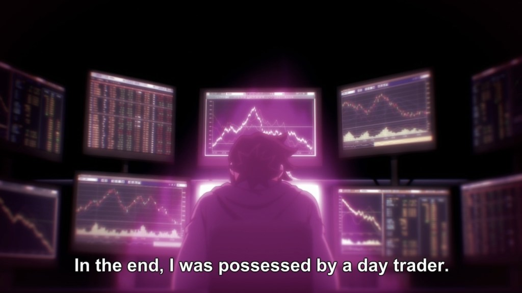 "A young man sits in front of a cluster of computer monitors full of numbers and line graphs. Subtitles read: ""In the end, I was possessed by a day trader."""