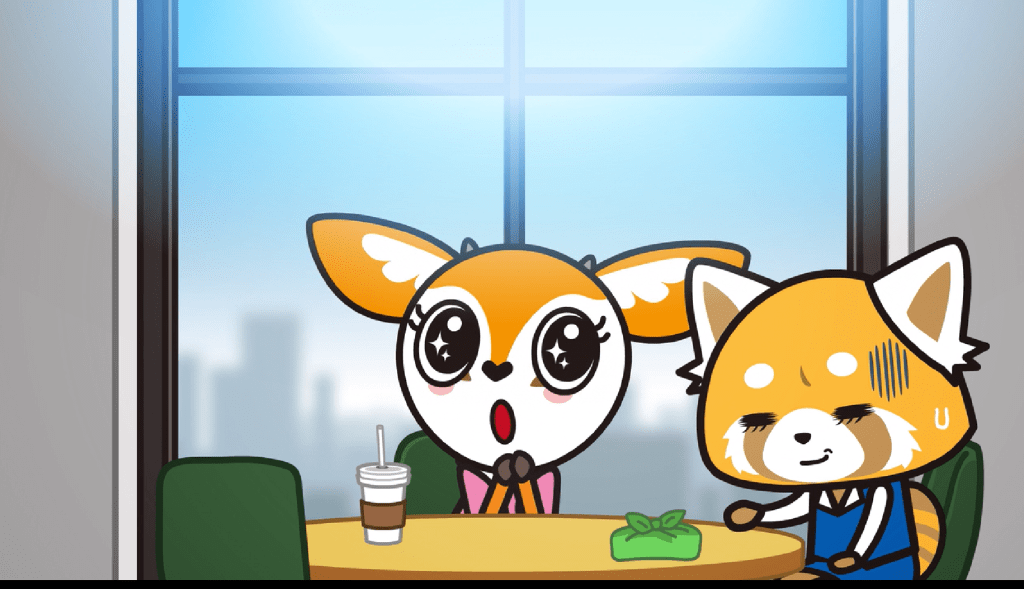 Retsuko sits at a desk with a doe (Tsunoda), who holds her hands together and cooes. Retsuko looks tired.