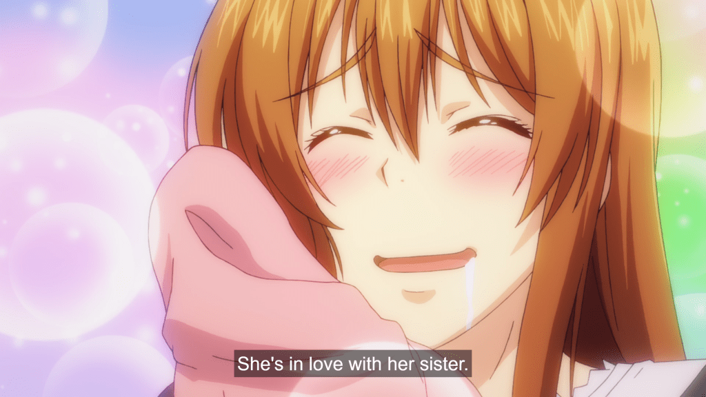 """A young woman presses a shirt to her cheek, smiling and blushing with sparkles around her. Subtitles read: """"She's in love with her sister."""""""
