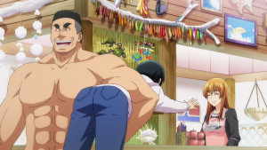 A muscle-bound, shirtless man picks up another young man under one arm and carts him off. The young man under his arm reaches his hands out pleadingly towards a smiling girl in an apron behind him.