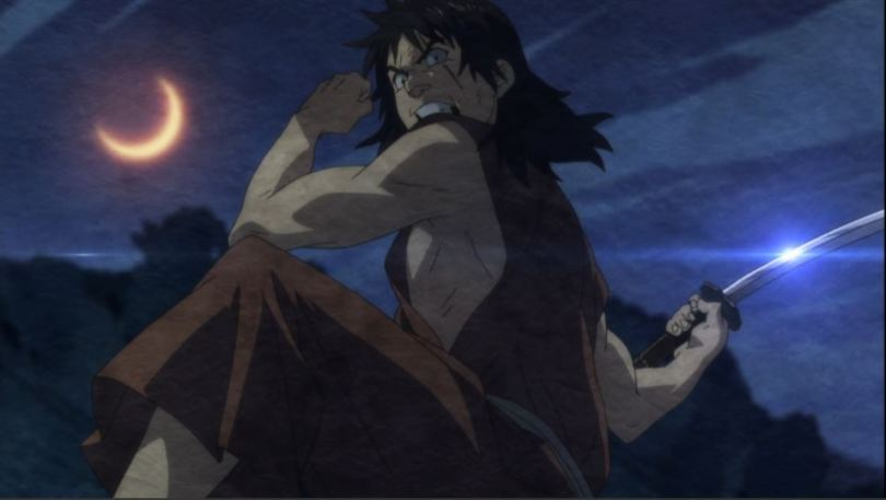 Jinzaburou drawing back his arm for a sword strike under an orange crescent moon