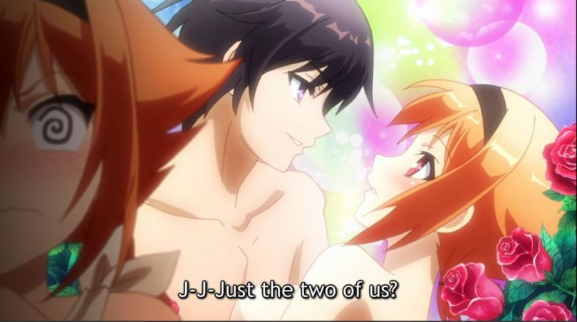 Ingrid blushing and imagining a shoujo scene between her and Yuuto. caption: j-j-just the two of us?