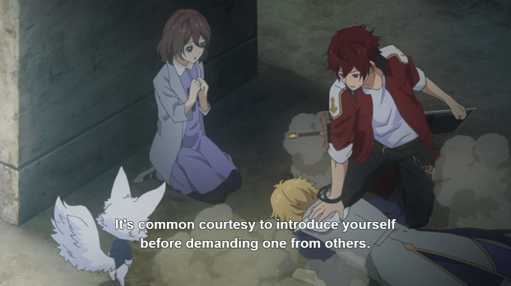 """A young redheaded man presses his hand into the back of a young blonde man who's on the ground. A young woman kneels beside them, watching. Subtitles read """"It's common courtesy to introduce yourself before demanding one from others."""""""