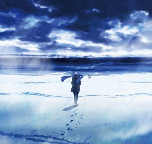 Victor from Yuri On Ice walking away from the camera across a snowy plain