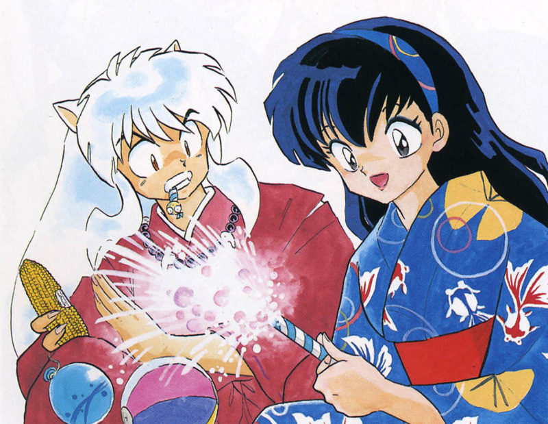 Manga art from Inuyasha. Kagome, dressed in a kimono, smiles and lights a firecracker. Behind her, Inuyasha jerks back, looking startled.