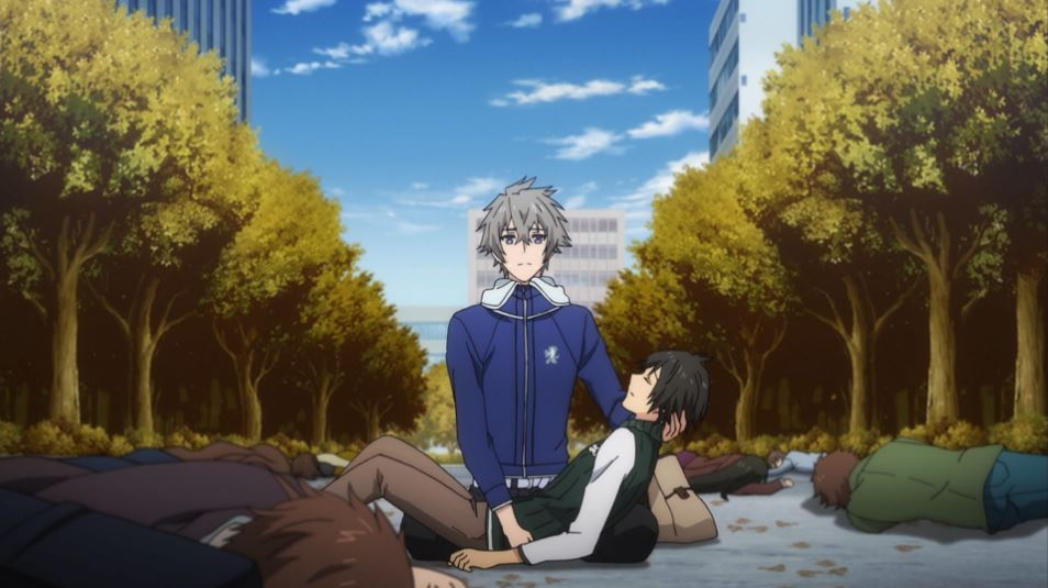 Chihiro holding an unconscious Kotetsu on a street full of collapsed people